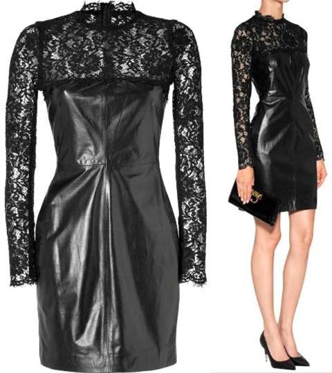 VALENTINO-Leather-Lace-Black-Dress